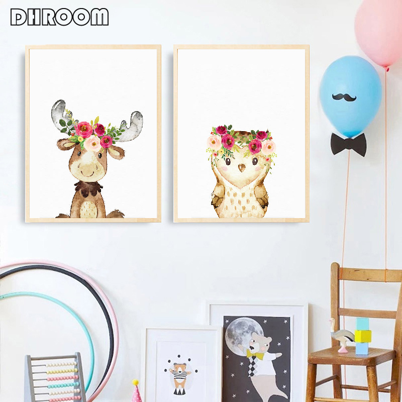 Watercolor Woodland Animals Wall Art Canvas Painting Floral Flower Poster Prints Nordic Kids Decoration Picture for Baby Room in Painting Calligraphy from Home Garden
