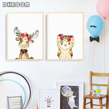 Watercolor Woodland Animals Wall Art Canvas Painting Floral Flower Poster Prints Nordic Kids Decoration Picture for Baby Room