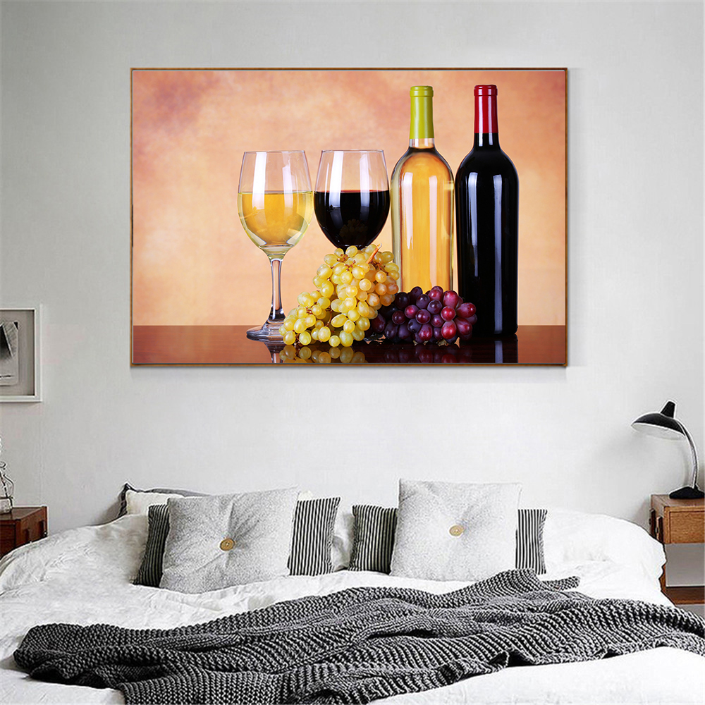 US $3.59 10% OFF|Modern Canvas Food Painting Juice Grape Wine Glasses  Drinks Beer Barrel Kitchen Decor Champagne Living Room Decoration  Cuadros-in ...