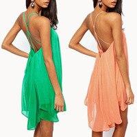 새로운 여름 패션 여성 캐주얼 섹시한 슬링 크로스 중공 등이없는 스윙 쉬폰 드레