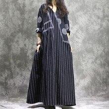 Женское хлопковое льняное платье пэчворк с длинным рукавом Осень Новое Женское платье в полоску и горох повседневное винтажное платье халат одежда размера плюс