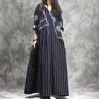 Women Cotton Linen Dress Patchwork Long Sleeve 2017 Autumn New Women Striped Dots Casual Vintage Dress Robe Plus Size Clothing