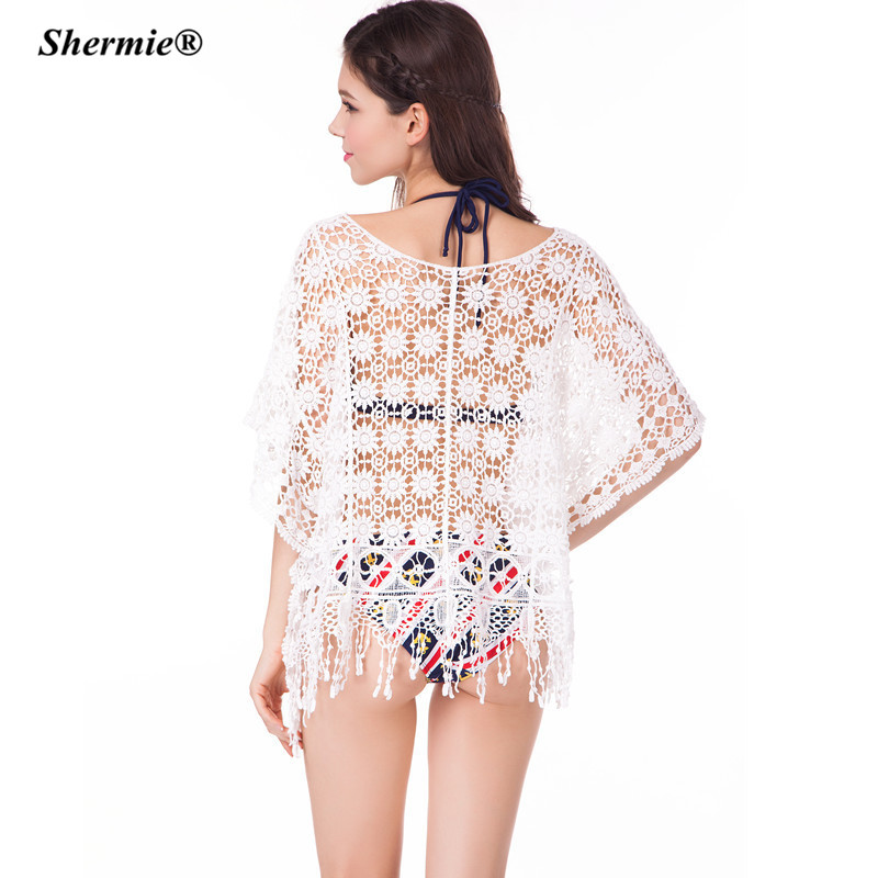 a77632ad420 Beach Cover Up Crochet Bikini Swimwear Tunic Sexy Lace Tassel Swimsuit High  Waist Plus size Bathing Suit Cover Ups Pareo  Q54-in Cover-Ups from Sports  ...