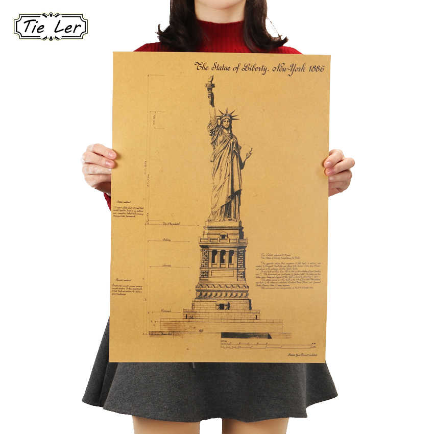 TIE LER The Statue of Liberty In New York Retro Poster Adornment Building Kraft Paper Wall Sticker 51.5X36cm