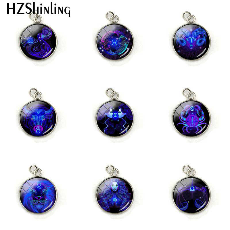 12 Zodiac Symbol Leo Virgo Signs Jewelry Charm Glass Cabochon Zodiac Sign Round Stainless Steel Plated Pendant Accessories Gifts