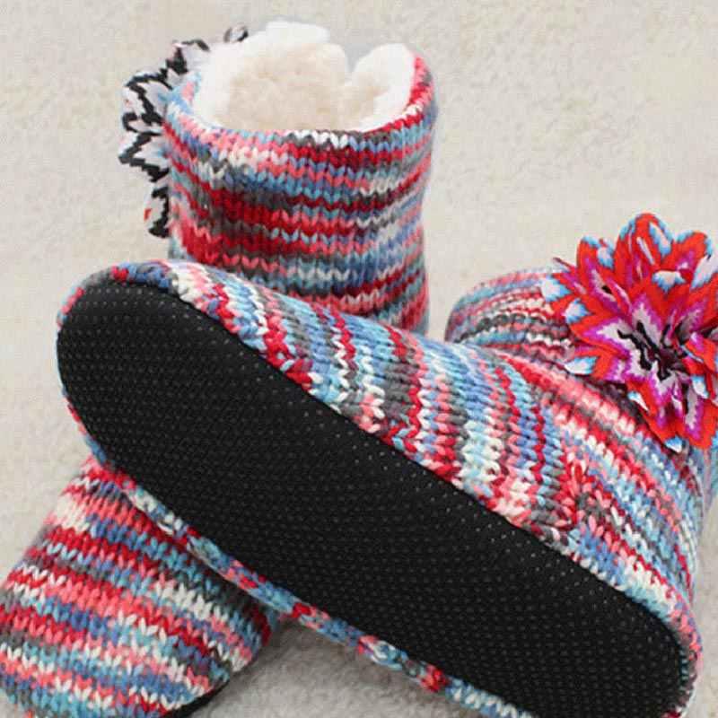 2018 Gemengde Kleur Gebreide Stof Vrouwen Thuis Laarzen Met Pluche Indoor Vloer Schoenen Winter Foot Warmer Zachte Bodem Sok Laarzen AWH007