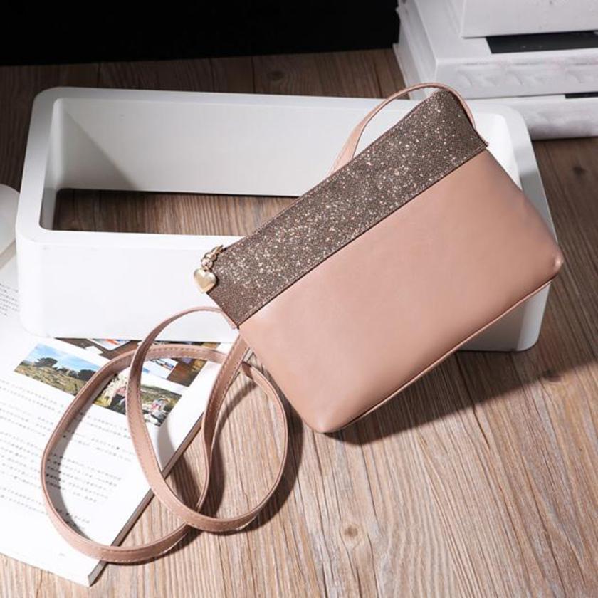 2017 pu leather Sequined handbag shoulder bag messenger bag Day clutch Chain bag small bag women clutches Nov22