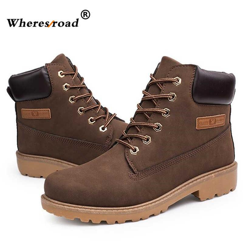 dfeee83b95f2 ... 2016 осень-зима Брендовая Мужская обувь повседневные ботинки «мартин»  Теплые зимние кожаные ботинки