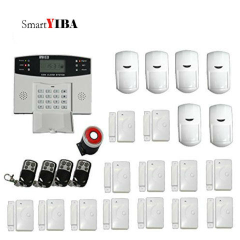 SmartYIBA GSM Alarm Auto Dial Home Security Door Gap Sensor Loudly Siren Horn Alarm System+Wireless Infrared Detector wireless vibration break breakage glass sensor detector 433mhz for alarm system