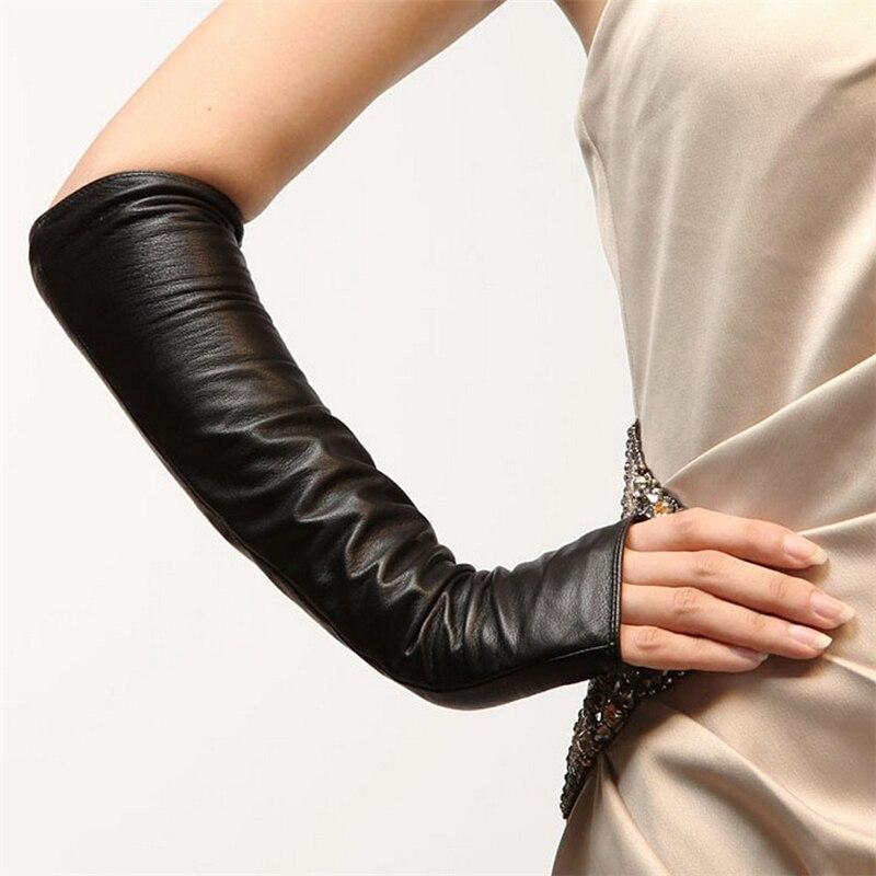 Hiver mode femmes noir en peau de mouton mitaines sans doigts dames Long en cuir véritable chaud gant coude solide mitaines vente L070NN-5