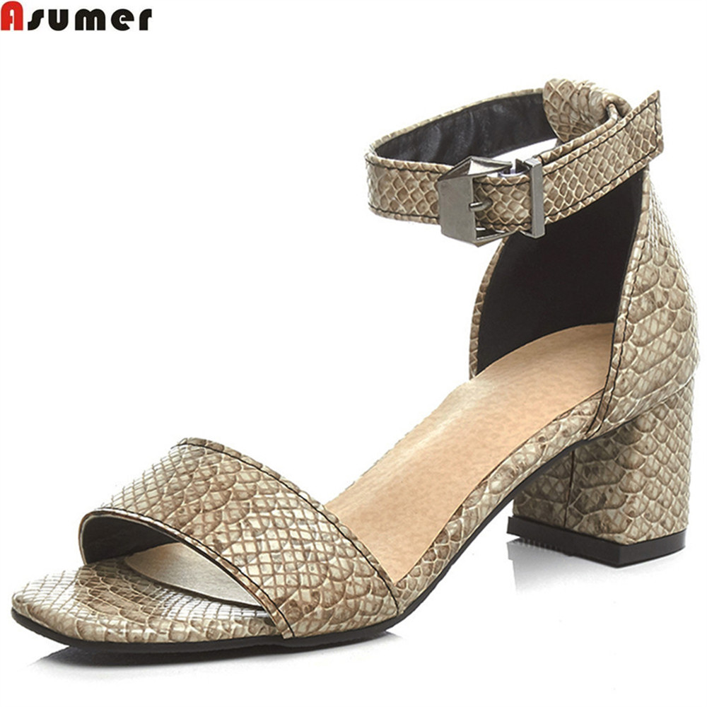 ASUMER black beige fashion summer hot sale new arrival women high heels shoes square heel casual ladies sandals big size 33-42 brand new hot sale sexy suede leather women tassel sandals blue black purple red ladies high heel fringe shoes plus big size 42