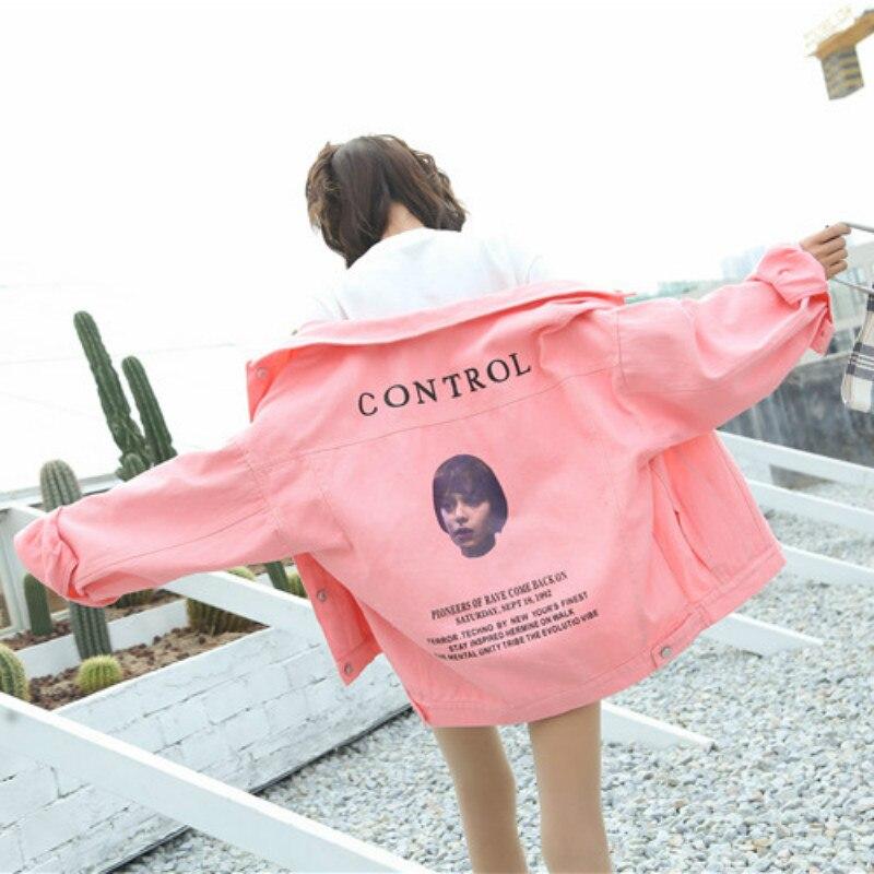 2018 Sweet Candy Color Denim   Basic     Jacket   Women Harajuku Cotton Jeans Coat Boy Avatar Printed Lapel Denim   Jacket   Coat Women