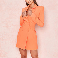 Elegant Mini Woman Dress Suits Dress Double breasted Blazer Jacket OL Buttons Cardigan Womens Dress Blazer