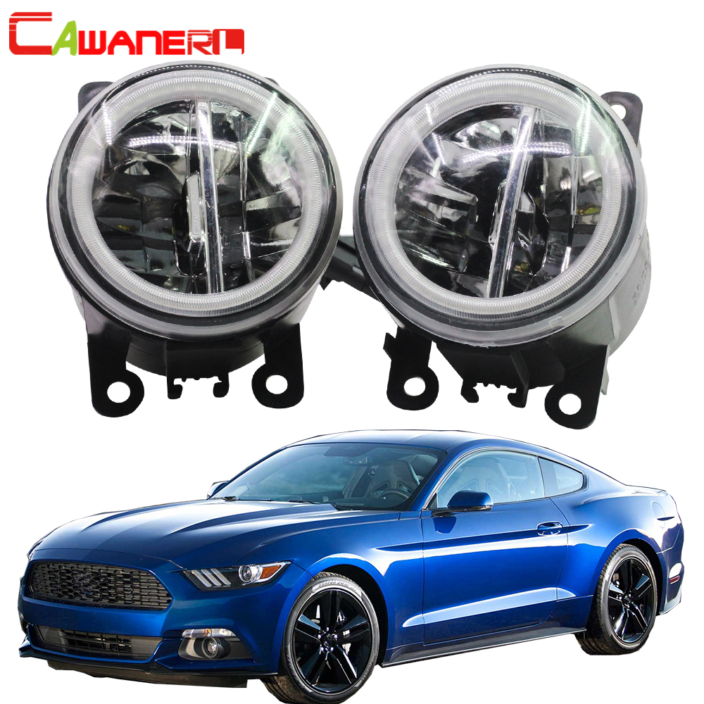 Cawanerl For Ford <font><b>Mustang</b></font> 2005 <font><b>2006</b></font> 2007 2008 2009 2010 2011 2012 2013 Car Styling 4000LM LED Bulb Fog Light + Angel Eye DRL 12V image