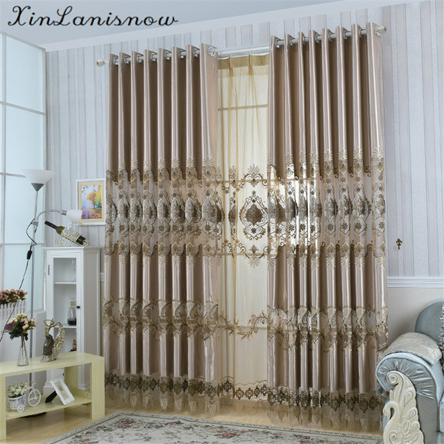 European Grey Embroidery With Black Coffee Curtains For Living Dining Room Bedroom In From Home Garden On Aliexpress Alibaba Group
