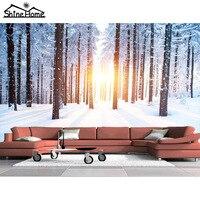 Coberto de neve paisagem da floresta de mármore piso de vinil 3d brilho papel de parede para parede 3 d foto papel de parede para sala de estar mural rolos
