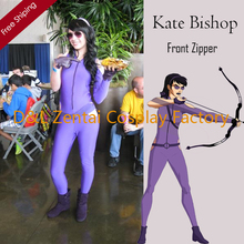 Free Shipping DHL Sexy Women Kate Bishop Costume Purple Lycra Spandex Superhero Zentai Catsuits Front Zipper SHS417