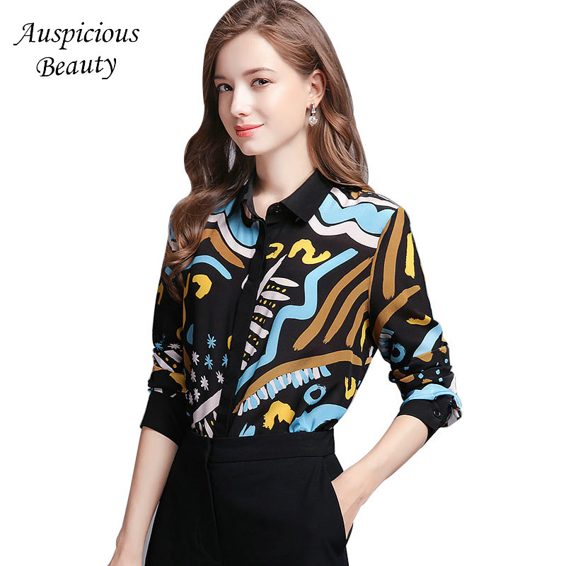 New Arrival Spring Women Printed Blouse Shirt Woman 100% Silk Tops Long Sleeve Blouses Ladies Office Shirts Size S-2XL CX192 alfani new pink black women s size small s ethnic swirl printed blouse $29 104 page 5
