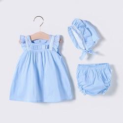 Платье Vlinder для маленьких девочек, летняя одежда для малышей, милое платье принцессы с бантом, синие платья с короткими рукавами для новорож...