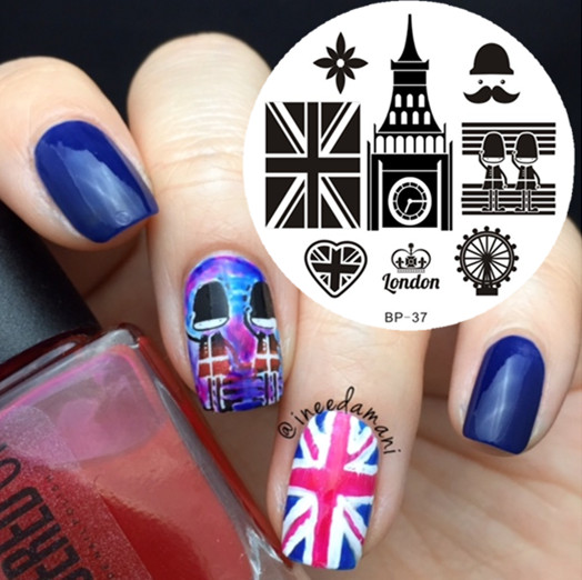 England British Style Stamping Plate Church Flag Pattern Nail Art