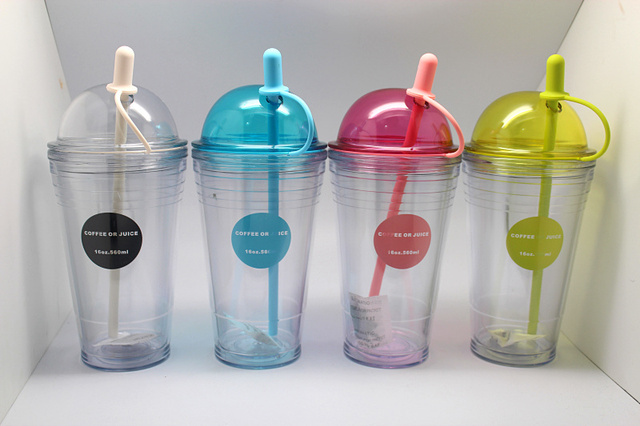 2015 New Simple plastic Space cup lemon juice Water Bottle For Students BPA Free children learn to drink cups bottle with straw
