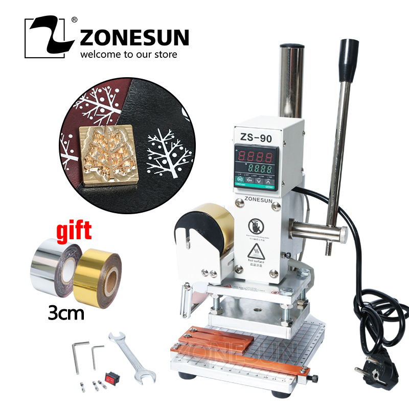 ZONESUN 8*10cm Hot Foil Stamping Machine Manual Bronzing Machine for PVC Card leather and paper stamping machineZONESUN 8*10cm Hot Foil Stamping Machine Manual Bronzing Machine for PVC Card leather and paper stamping machine