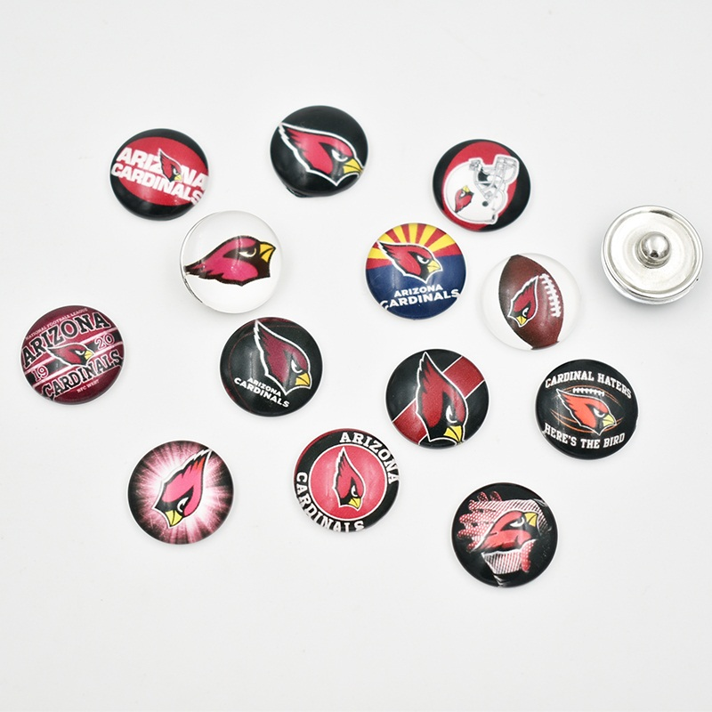 Newest Arizona Cardinals 18MM Glass Football Team Snap Button Charms Fit DIY Snap Jewelry (Mixed 50pcs or Single 10pcs)