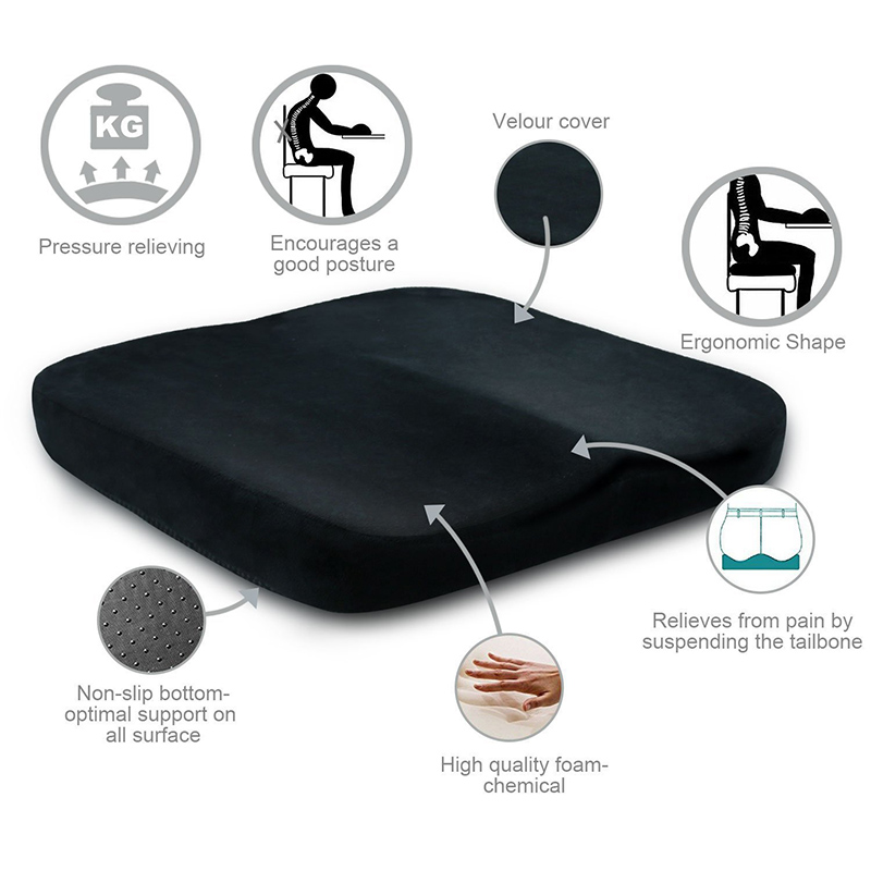 Memory Cotton Gel Seat Cushion Soft Comfortable Non-Slip Seat Pads For Car Office Home Chair Bottom Seats Massage Cushion Pad