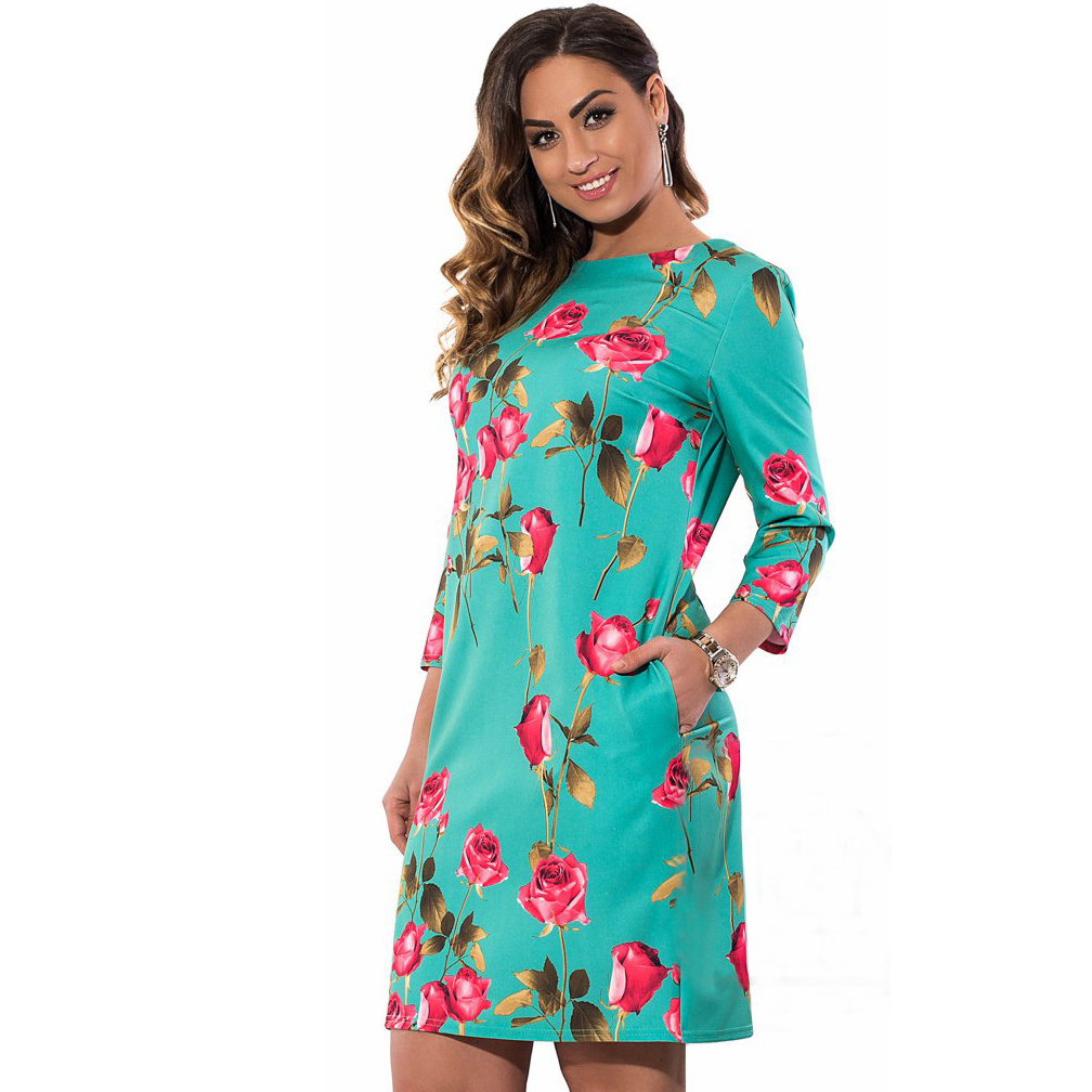 Plus Size Green Flower Dress Summer New Elegent Rose Large Women Las Knee Dresses Slim Brand Quality Office Clothing 6xl In From S