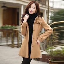 Womens Wool Coats Thick New 2015 Winter Coat Women Wool Korean Coats Brand Fashion Autumn Sexy Ladies