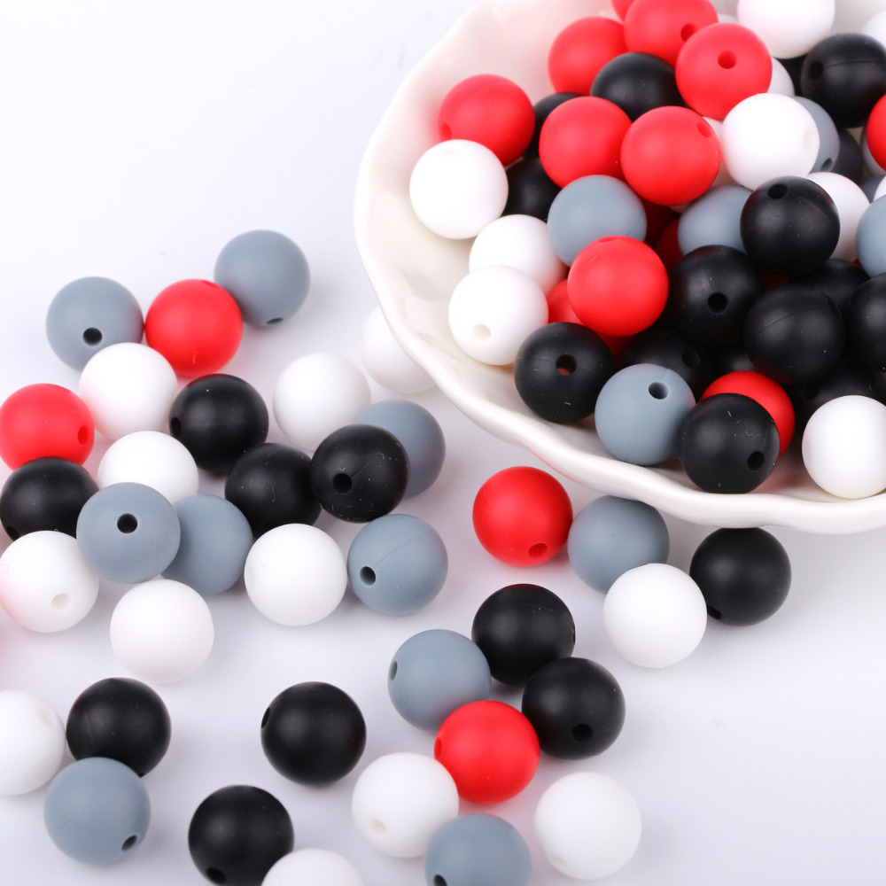 40PCs 12MM Food Grade Silicone Beads Baby Teether Teething Chewable Toy BPA Free