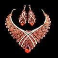2017 african jewelry set collar de la boda joyería de las mujeres set chapado en oro collar y pendientes de la gota seis colores jiayi jiaduo