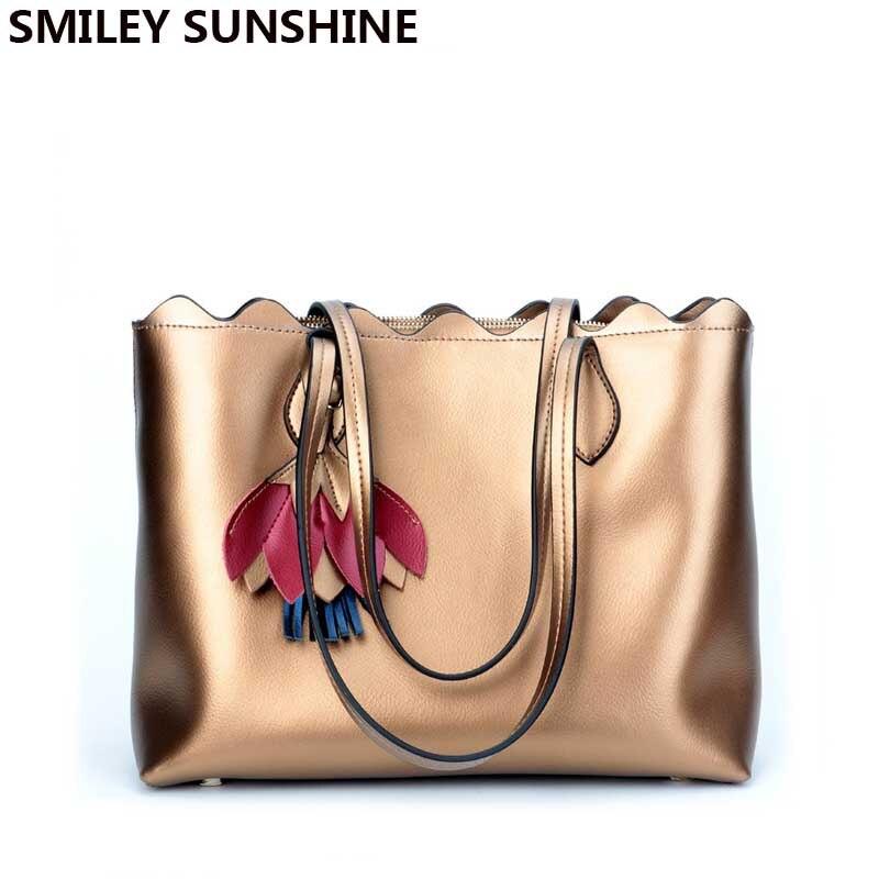 SMILEY SUNSHINE Genuine Leather Bag Female Large Shoulder Bag for Women Big Luxury Brand Women Leather