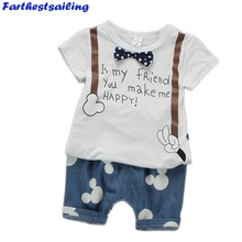 Boys Summer Clothes Kids Cool Cotton Short Sets Baby Children T-Shirt With Bowknot Clothing Kid