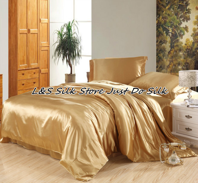 Silk bedding sets 4pcs luxurious champagne color king queen Full Twin 100 mulberry silk dyed fabric