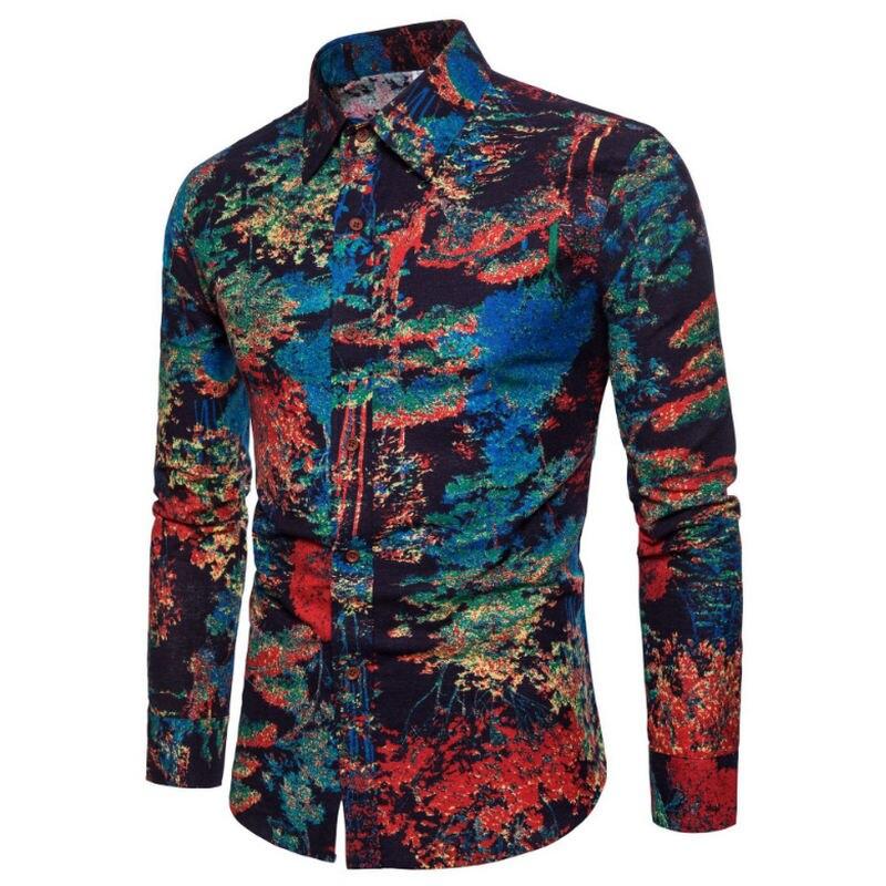 Mode printemps automne décontracté hommes chemise Slim Fit fleur impression lin chemise à manches longues chemises mâle Floral Social Masculina M-5XL