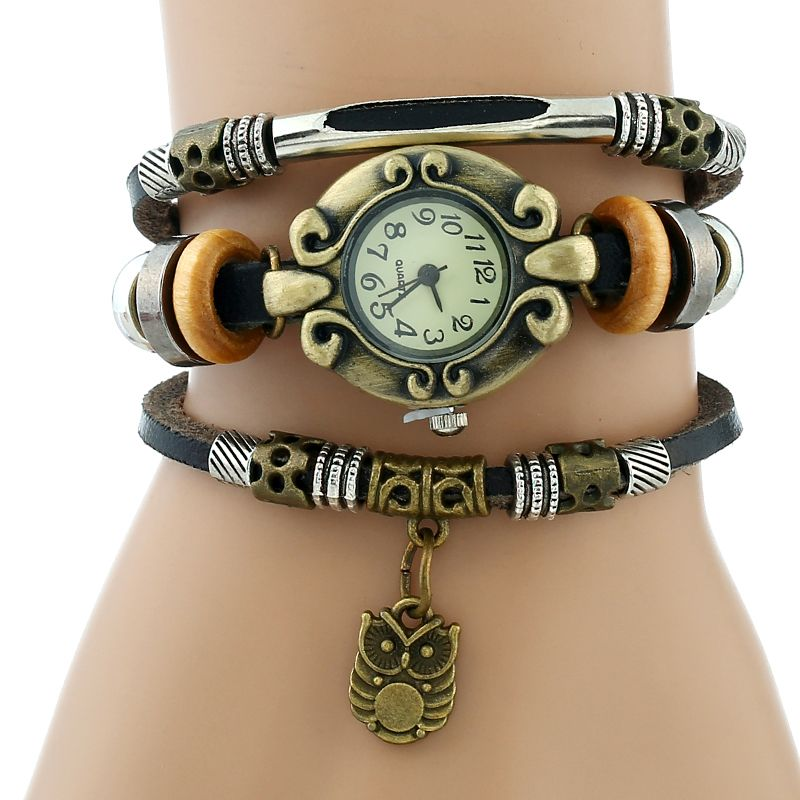 Gnova Platinum Hand Made Top Women Genuine Leather Bracelet Watch Women Quartz Dress wristwatch Leaf fish Snow flake owl charm one tl electric guitar neck 25 5 inch 22 fret maple made and rosewood fingerboard bindding also have 21 fret page 6