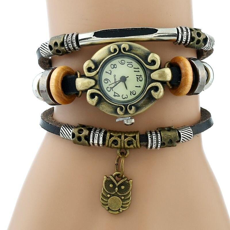 Gnova Platinum Hand Made Top Women Genuine Leather Bracelet Watch Women Quartz Dress wristwatch Leaf fish Snow flake owl charm серверная платформа intel r2208wt2ysr 943827