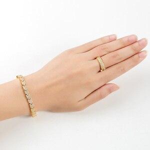 Image 5 - Hadiyana 2018 Fashion Aaa Zirkoon Set Shiny Pijl Sieraden Ketting Oorbellen Armband Ring Sets Bruid Engagement Wedding TZ8123