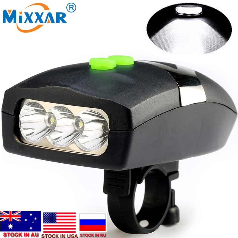 Dropshipping Bike Bicycle Light Universal White Front Head Light Cycling Lamp + Electronic Bell Horn Waterproof Accessories