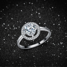 Sterling Silver Rings Solo Round Zircon Stone Classic Engagement Wedding Rings for Women E116