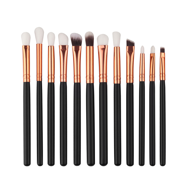 12 Teilelos Pro Make Up Pinsel Set Foundation Pulver Lidschatten