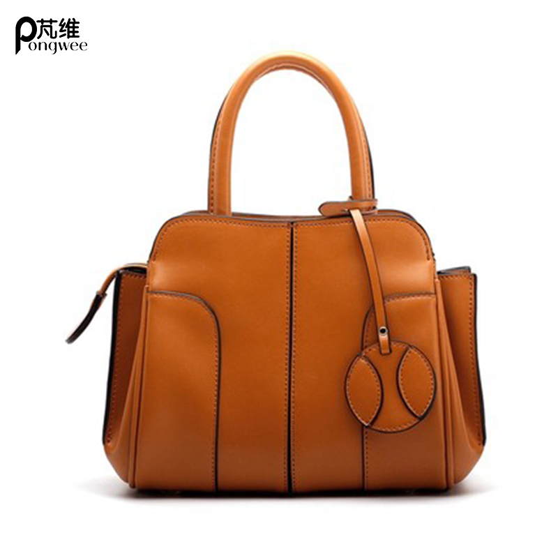 PONG WEE 2018 New Female Contrast Color Natural Cowhide Daily Shoulder Bag Large Capacity Messenger Handbag