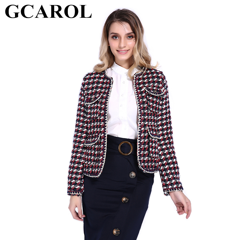 GCAROL New Collection Women Twist Plaid Worsted Blazer Hidden Breasted Vintage OL Elegant Fashion Short Suit In Fall Winter