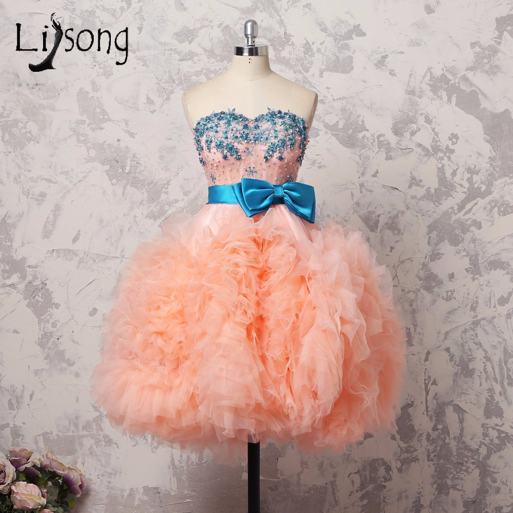 Cabdy Color Puffy Knee Length Girls Dress To Graduation Ruffles Tiered Cocktail Dress Off Shoulder Bead Appliques Party Dress