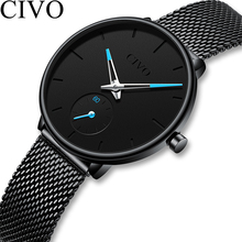 CIVO Luxury Ladies Watch Women Ultra thin Waterproof Black Steel Mesh Strap Wome