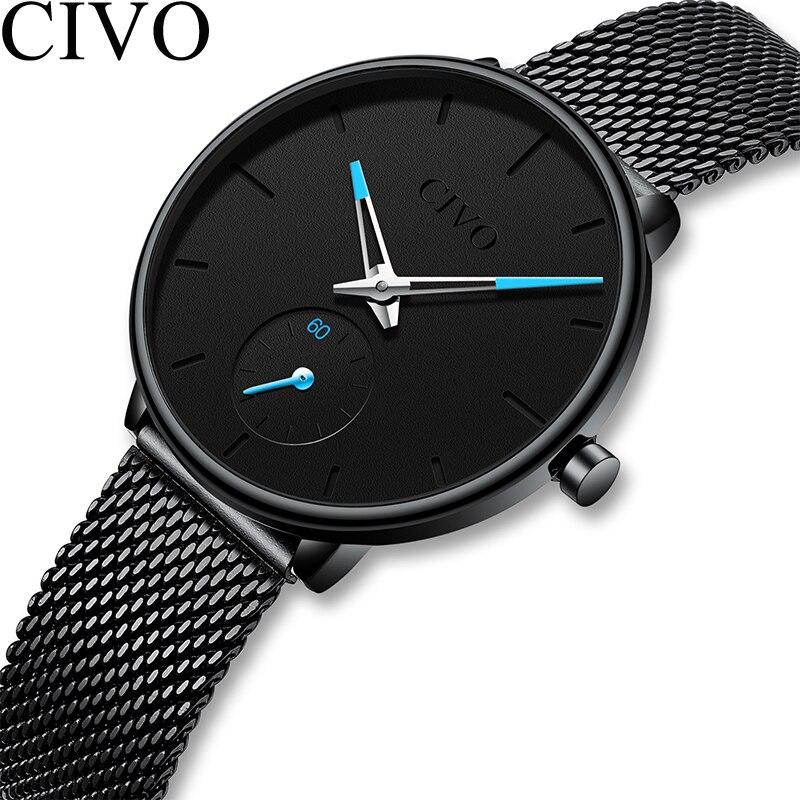 CIVO Luxury Ladies Watch Women Ultra Thin Waterproof Black Steel Mesh Strap Women's Watches Quartz Casual Clock Relogio Feminino