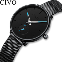 CIVO Luxury Ladies Watch Women Ultra thin Waterproof Black Steel Mesh Strap Women's Watches Quartz Casual Clock Relogio Feminino