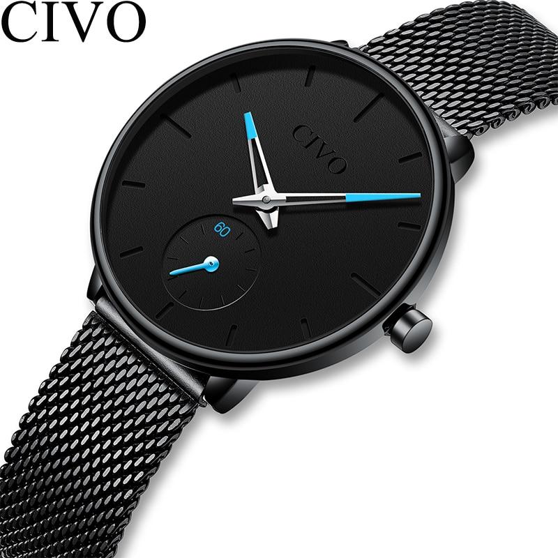 CIVO de luxe dames montre femmes Ultra mince étanche en acier noir maille bracelet femmes montres Quartz horloge décontractée Relogio Feminino