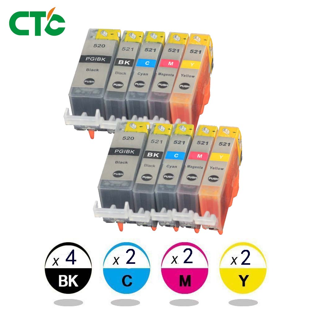 10x Ink Cartridges PGI 520 CLI 521 for Canon PIXMA iP3600 4600 4700 MP 540 550 560 620 630 640 980 MX860 Printer with chip10x Ink Cartridges PGI 520 CLI 521 for Canon PIXMA iP3600 4600 4700 MP 540 550 560 620 630 640 980 MX860 Printer with chip